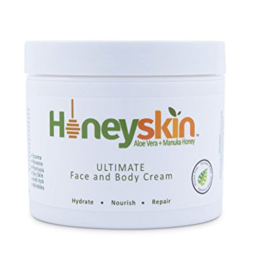 Honeyskin Organics Aloe Vera + Manuka Honey Face and Body Cream for Rosacea, Eczema, Psoriasis, Rashes, Itchiness, Redness with raw Superfoods, 4 oz.