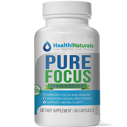 Pure Focus, Nootropics Supplement with DHA, Reduces Brain Fog, Improve Memory, Supports Clarity and Focus. Healthy Brain Supplements, Niacin B3, Vitamin B6 & C, 60 Pills. [FREE GIFT]