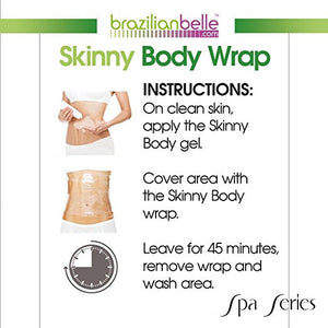 Brazilian Skinny Body Wrap Kit - Lose Belly Fat Fast, Reduce Cellulite, Eczema & Stretchmarks. No-Mess Formula for Stomach, Arms, & Thighs.(Slimming Cream + Belly Band)