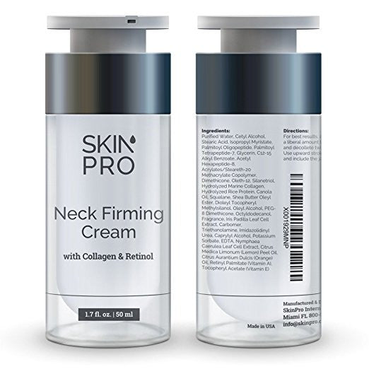 SkinPro Neck Firming Cream – Anti Aging & Skin Tightening Serum – Age Defying – Made with Marine Collagen & Peptides – Contains Vitamin A & Retinol for Firm Skin – Paraben Free –1.7 oz/50ml