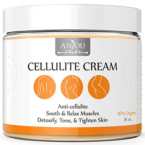 Anjou Cellulite Cream 16 oz with L-Carnitine (Anti-Cellulite, Muscle Relaxation for Yoga, Firming and Toning Gel, Hot Cream, over 15 Natural Essential Oils, 87% Organic)