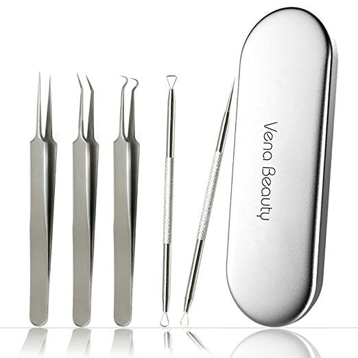 Blackhead Remover Tool kit,Professional Stainless Steel Pimple Comedone Extractor Curved Tweezers Kit with Metal Case,Treatment for Whitehead Acne by Vena Beauty(5pcs)