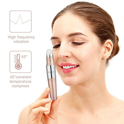 Facial Massager, iCoostor Portable Vibrating Eyes Ionic Massager Heated Facial Infusion Rollers for Skin Care Oil Booster (Rose Gold)