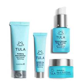 TULA Probiotic Skin Care Anti-Aging Discovery Set - Travel-friendly Starter Kit with Cleanser, Day & Night Moisturizer, Deep Wrinkle Serum, & Eye Cream for Hydrated and Youthful Skin