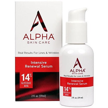Alpha Skin Care Intensive Renewal Serum for all skin types with 14% Glycolic AHA, fragrance-free and paraben-free, 2 fl. oz.