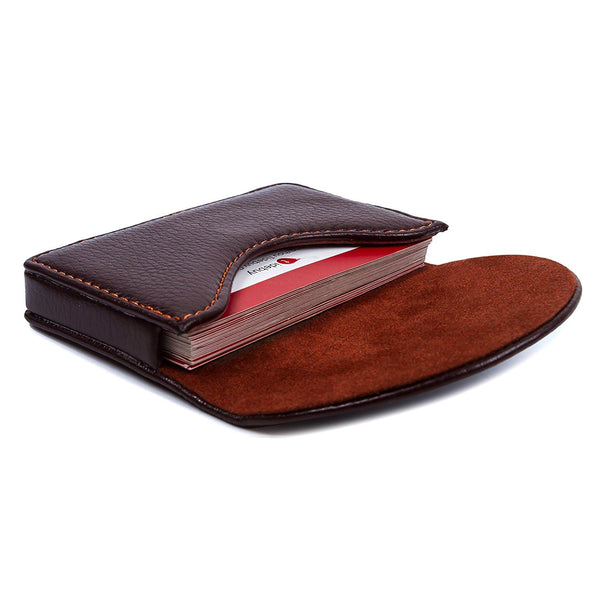 Leather Business Name Card Holder Case Wallet Credit Card Book with Magnetic Shut Coffee