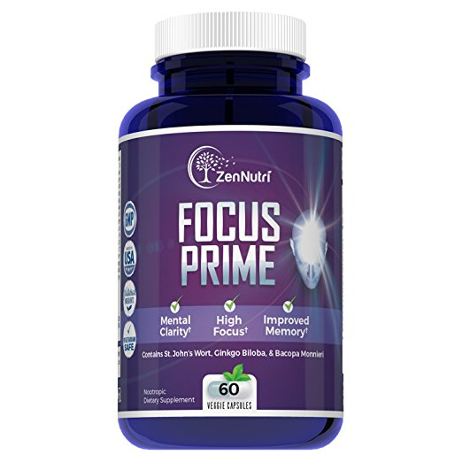 Focus Prime Brain Booster, Concentration Enhancer & Memory Support Supplement by ZenNutri, Natural Vegetarian Nootropic - Ginkgo Biloba, Bacopa Monnieri, Huperzine-A & St. John's Wort - 60 Veggie Caps