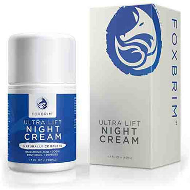 Foxbrim Anti Aging Face Cream - Ultra Lifting Night Cream - With Skin Smoothing Anti Wrinkle Natural & Organic Ingredients - CoQ10, Panthenol, Peptides, Hyaluronic Acid & More - 1.7OZ