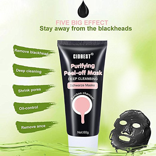 Black Peel Off Mask,Bamboo Charcoal Deep Clean Mask Remove Anti Face Mud Mask Blackhead Facial Mask Acne Treatment Mask