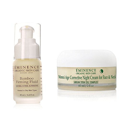 Bundle - 2 Items : Eminence Bamboo Firming Fluid, 1.2 Ounce & Eminence Monoi Age Corrective Night Cream for Face and Neck
