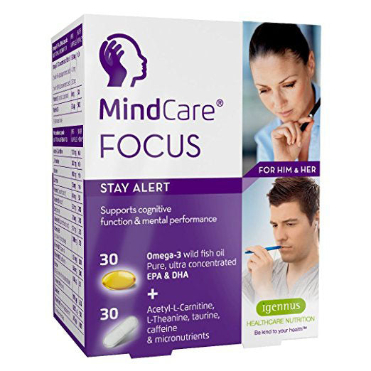 MindCare FOCUS, Stay Alert – Omega-3 & Multivitamin Brain Function Formula, 80% Omega-3 EPA & DHA Concentrate, Featuring Vitamin D3, Acetyl-L-Carnitine, L-Theanine, taurine & caffeine, 60 Capsules