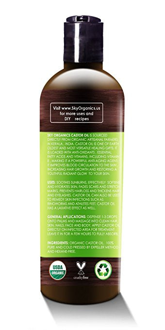Organic Castor Oil By Sky Organics 16oz: Cold-Pressed, 100% Pure, Hexane-Free Castor Oil - Moisturizing & Healing, For Dry Skin, Hair Growth - For Skin, Hair Care, Eyelashes - Caster Oil