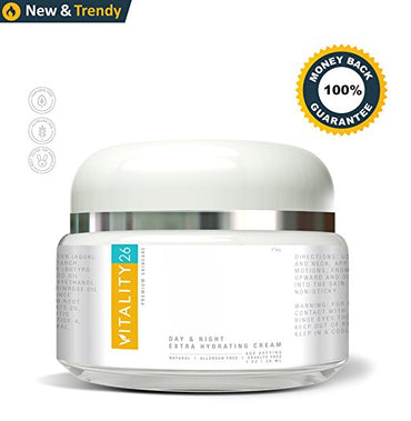 Vitality26 Anti Aging Cream - Moisturizer Skin Care Product - Effective Deep Wrinkle Fighting for Men and Women - Organic Shea Butter, Wild Yam and Grape Seed Extracts - 1 Ounce