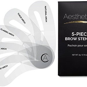 Aesthetica 5-Piece Brow Stencils - Easy-to-Use Eyebrow Shaping & Defining Stencils - Step by Step Instructions Included