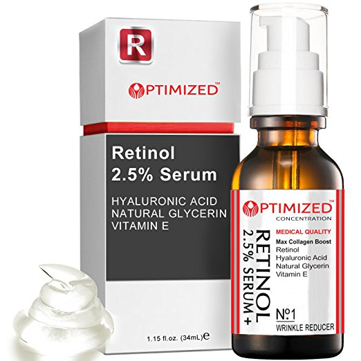 Retinol Serum 2.5% with Hyaluronic Acid, Glycerin, Vitamin E - Reduce Wrinkles, Fine Lines, Even Skin Tone, Sun Spots, Age Spots - Boost Collagen Production 1 fl oz - OPTIMIZED LAB Guaranteed