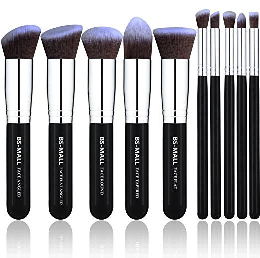 BS-MALL(TM) Makeup Brushes Premium Makeup Brush Set Synthetic Kabuki Makeup Brush Set Cosmetics Foundation Blending Blush Eyeliner Face Powder Lip Brush Makeup Brush Kit(10pcs, Silver Black)