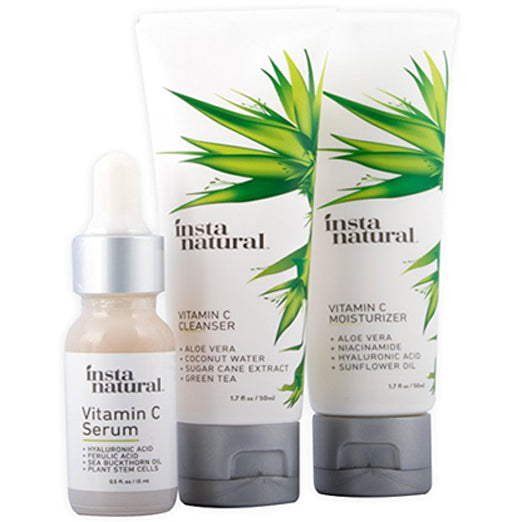 InstaNatural Vitamin C Skin Trio Bundle - 30 Day Starter Kit - Cleanser, Serum, & Moisturizer Combo - Natural & Organic Anti Aging Treatment For Face - Reduces Wrinkles, Dark Circles & Boost Collagen