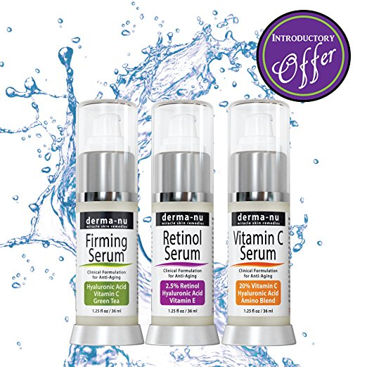 Anti Aging Serum Trio - Hyaluronic Acid, Retinol Serum & Vitamin C Serum 3 Pack by Derma-nu Skin Remedies