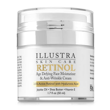Illustra Anti-Aging Anti Wrinkle Retinol Cream - Organic Hyaluronic Acid, Natural Green Tea, Jojoba Oil, Shea Butter