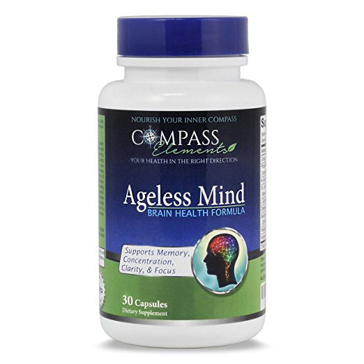 Ageless Mind Natural Brain Booster for + Memory Mood Clarity & Focus with Ginkgo Biloba Best Nootropic Brain Health Supplement