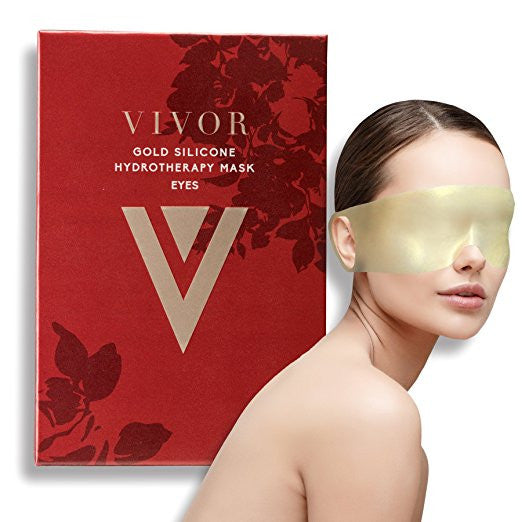 Vivor Beauty Gold Silicone Hydrotherapy Eye Mask. Reduce Eye Bags, Crow's Feet, Wrinkles, and fine lines. Reusable up to 100 times!