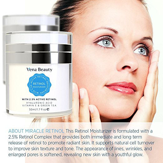 Retinol Moisturizer Cream, Anti Aging Night Cream for Face and Eye Area - with Active Retinol, Hyaluronic Acid, Vitamin E and Green Tea, Anti Aging Formula Reduces Wrinkles