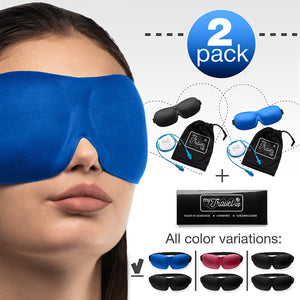 2 PACK - Luxuriously soft 3D SLEEP MASK, pleasant touch, PERFECT MAKE UP without defects and PAIR of HIGH FIDELITY EARPLUGS – give you a blissful SILENCE everywhere - MyTravelUp (Black & Blue)