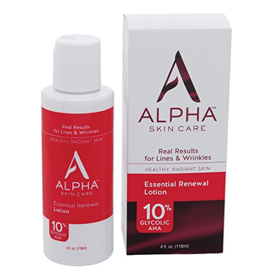 Alpha Skin Care Essential Renewal Lotion with 10% Glycolic AHA, fragrance-free and paraben-free, 4 Ounce (Packaging May Vary)