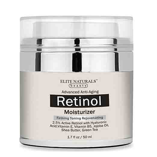 Elite Naturals Retinol Moisturizer Cream for Face and Eye Area - With 2.5% Retinol, Hyaluronic Acid, Vitamin E, Anti Aging Formula Reduces Wrinkles, Fine Lines,Day and Night Cream 1.7 Fl. Oz