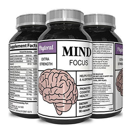 Enhance Brain Memory + Boost Focus + Improve Clarity Mind Booster Supplement For Men And Women - Contains Vitamins + Pure Herbal Ingredients - Natural Cognitive Brain Nutrition By Phytoral