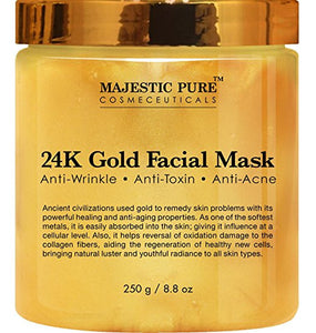 24K Gold Facial Mask from Majestic Pure, 8.8 Oz - Ancient Gold Mask Formula Reduces the Appearances of Wrinkles and Fine Lines, Helps with Acne and Firming Up Skin
