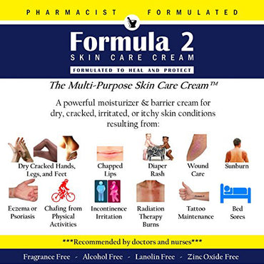 Formula 2 Skin Care Cream | Moisturizer & Barrier For Eczema - Psoriasis - Dermatitis - Rashes - Burns. For Severely Dry, Cracked, Irritated, Itchy or Dead Skin - Pharmacist Formulated (8 oz.)