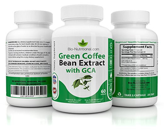 800mg Pure Green Coffee Bean Extract with 50% GCA - | 60 Capsules | Natural Weight Loss and Appetite Suppressant | Antioxidants Support for Healthy Metabolism | 2 Servings per Day | One Month Supply