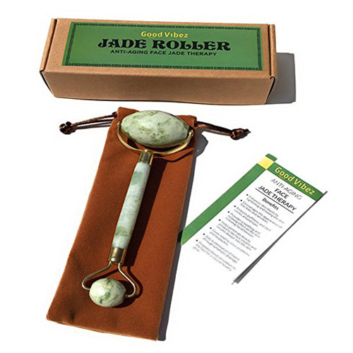 Jade Roller for Face Massage, Double Rollers, 100% Real Natural Jade, Anti-Aging Beauty Skincare Tool to Rejuvenate Facial Skin, Anti-Wrinkle Slimming Cooling Tighten Tone Puffy Face Eyes Neck
