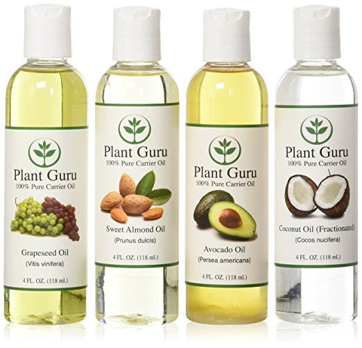 100% Pure Carrier Oil VARIETY-4 PACK- 4 Ounce Bottles--Fractionated Coconut Oil, Grapeseed Oil, Avocado Oil and Sweet Almond Oil