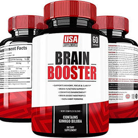 Brain Booster by USA SUPPLMENTS Supports Memory, Focus, Clarity, Energy & Concentration | Mind Cognitive Enhancement, Natural Nootropics | Contains Ginkgoxine, Ginkgo Biloba, St. John's Wort & DMAE