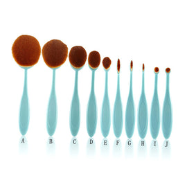 Professional 10pcs/set Fashion Beauty Toothbrush Shape Oval Brush Set Foundation Concealer Makeup Brushes Cosmetic Tools