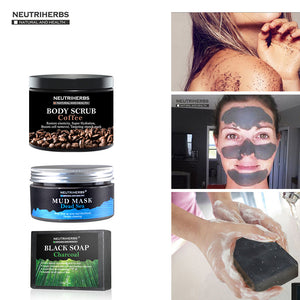 Face Black Blackhead Remover Mask Coffee Body Cream Scrub Reducing Oil White Essential Oil Soap Cellulite Treatment  3 in 1 Set