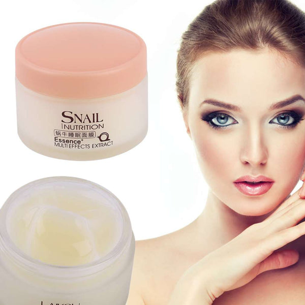 2016 New LAIKOU No Wash Snail Sleeping Mask Cream Essence Moisturizing Night Cream Anti Aging Anti Wrinkle Nutrition Face Cream