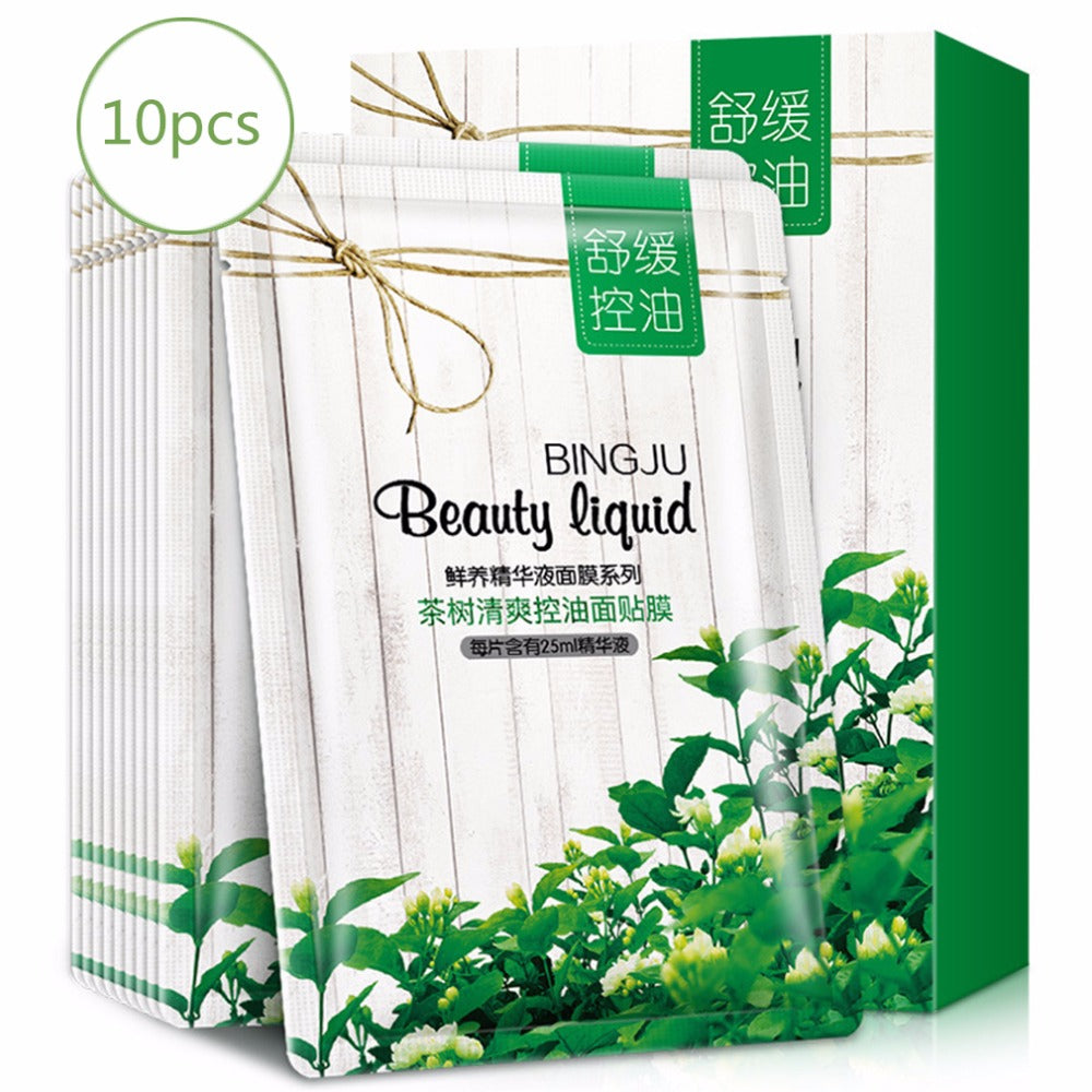 BINGJU 10 Pieces/Set Tea Plant Facial Beauty Mask Cleaning Mask Smooth Moisturizing Firming Skin Care Oil-Control Mask