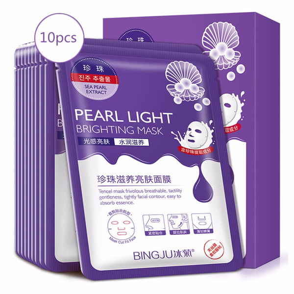 Bing ju 10 Pieces Pearl Light Brighting Mask Cleaning Mask Smooth Moisturizing Firming Skin Care Whitening Beauty Mask
