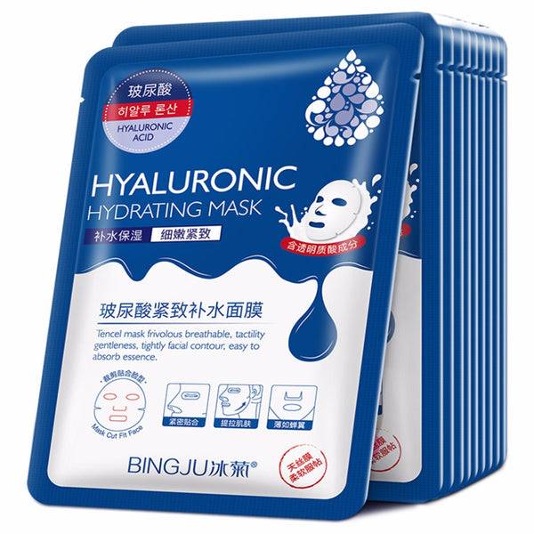 BINGJU 10 Pieces/Set Breathable Hyaluronic Hydrating Facial Beauty Mask Cleaning Mask Smooth Moisturizing Firming Skin Mask