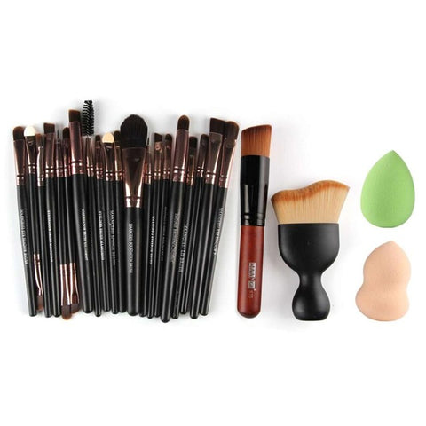 Professional 22 Pcs Cosmetic Makeup Brushes Powder Foundation Eyebrow Lip Brushes Kit Beauty Tool With Two Powder Puff Sponge