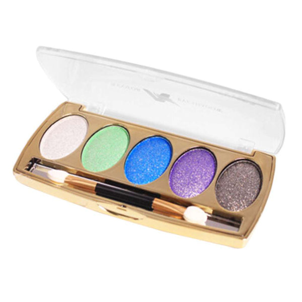 Professional 5 Color Set Women Make Up Metal Diamond Style Eye Shadow Palette Basic Cosmetic Long Lasting Beauty Tool With Brush
