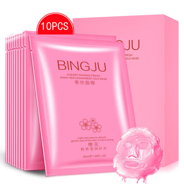 10 Pcs/Set Bingju Cherry Extract Moisturizing Face Mask Hydrating Deep Cleansing Whitening Facial Mask Beauty Care Product