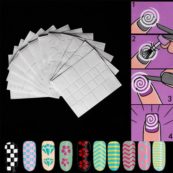 Beautiful 12 Styles/Kit Manicure DIY Hollow Nail Art Form Fringe Guides Sticker Stencil Nail Tools Fashion Decoration