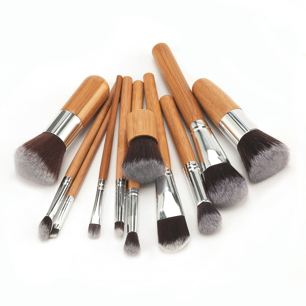 11pcs/set Pro Bamboo Makeup Brushes Sets Blending Powder Foundation Blush Eye Shadow Brush Women Facial Beauty Tool Kit 2017 New