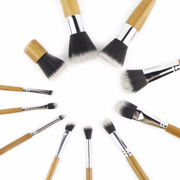 11pcs/set Professional Makeup Brushes Set Eyebrow Eyeliner Foundation Powder Brushes Wood Cosmetic Brush Beauty Make Up Tool