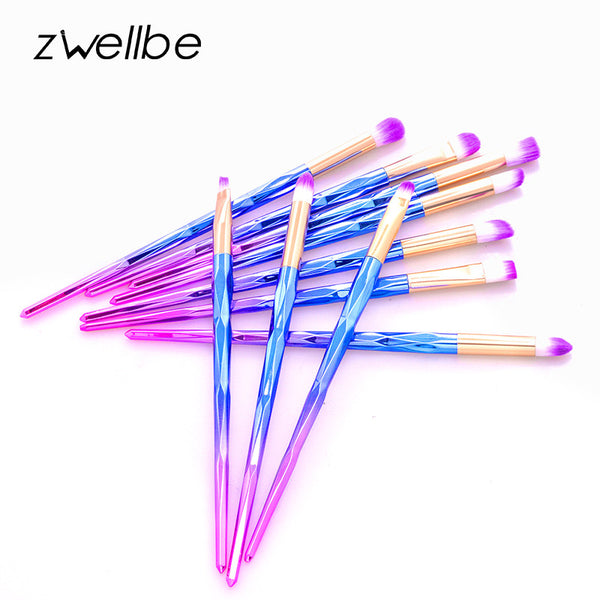zwellbe 4/6/10pcs Makeup Diamond Brush Rainbow Makeup Brushes Set Powder Foundation Eye Lip Concealer Face Pincel Brush Kit