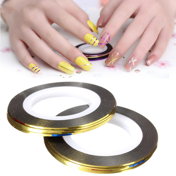 10pcs Rolls Striping Tape Line Nail Art Sticker Tools Beauty Decoration For Nail Water Transfer Stickers Nail Art Decals M03238